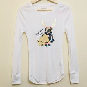Old Navy white thin Christmas pug sweatshirt